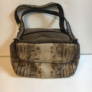 Donald J Pliner python canvas shoulder bag